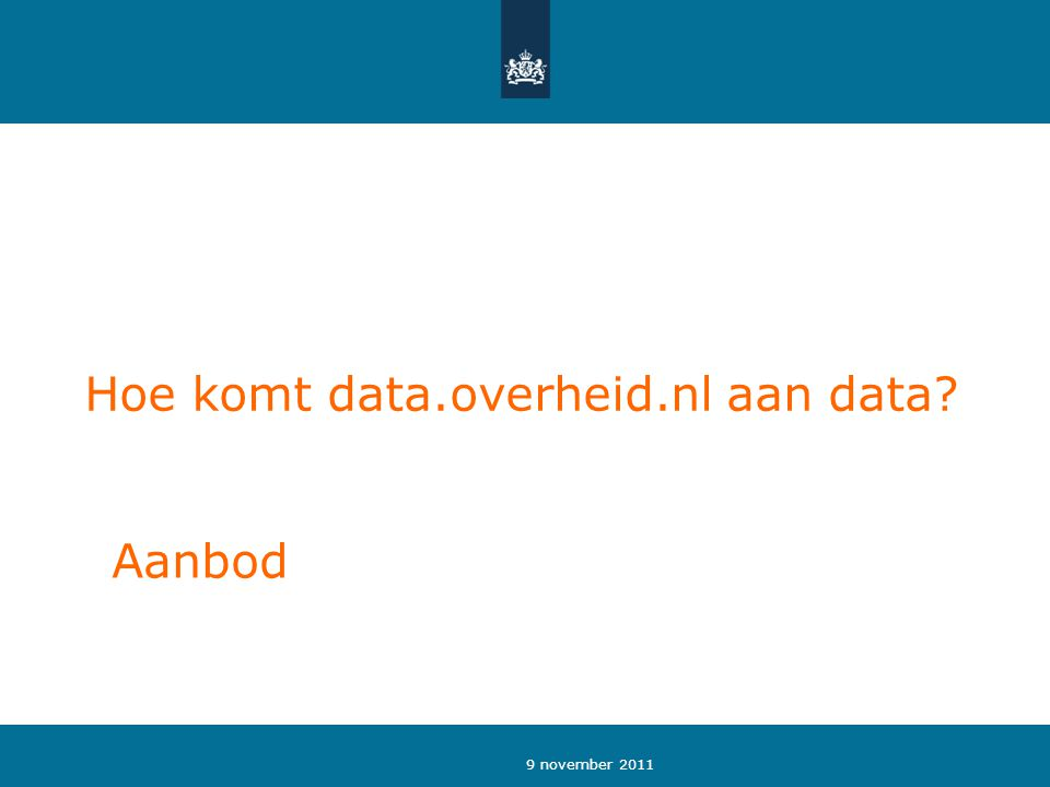 9 november 2011 Hoe komt data.overheid.nl aan data? Aanbod