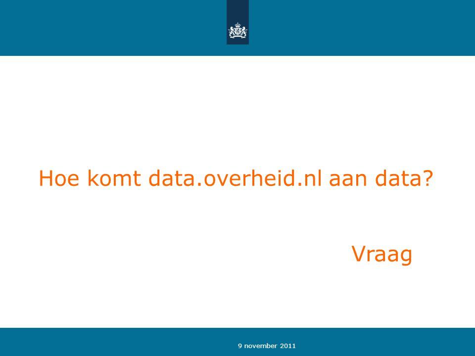 9 november 2011 Hoe komt data.overheid.nl aan data Vraag