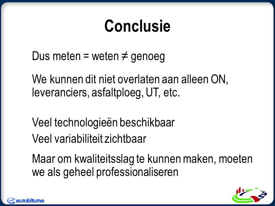 Conclusie Dus meten = weten ≠ genoeg We kunnen dit niet overlaten aan alleen ON, leveranciers, asfaltploeg, UT, etc. Veel technologieën beschikbaar Ve
