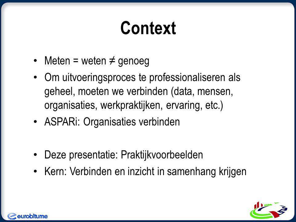 Context • Meten = weten ≠ genoeg • Om uitvoeringsproces te professionaliseren als geheel, moeten we verbinden (data, mensen, organisaties, werkpraktij