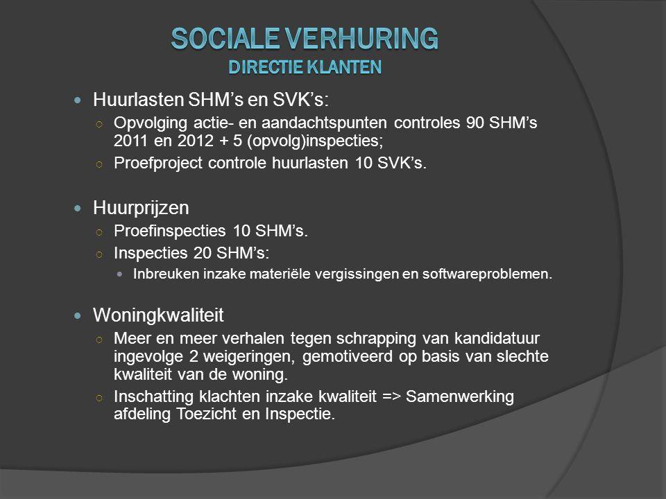  Huurlasten SHM's en SVK's: ○ Opvolging actie- en aandachtspunten controles 90 SHM's 2011 en 2012 + 5 (opvolg)inspecties; ○ Proefproject controle huu