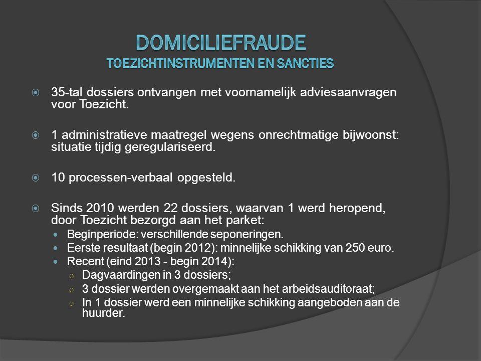  35-tal dossiers ontvangen met voornamelijk adviesaanvragen voor Toezicht.  1 administratieve maatregel wegens onrechtmatige bijwoonst: situatie tij