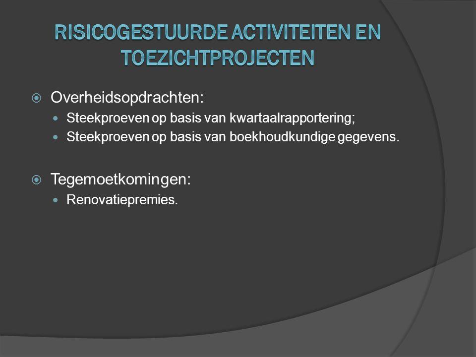  Overheidsopdrachten:  Steekproeven op basis van kwartaalrapportering;  Steekproeven op basis van boekhoudkundige gegevens.  Tegemoetkomingen:  R