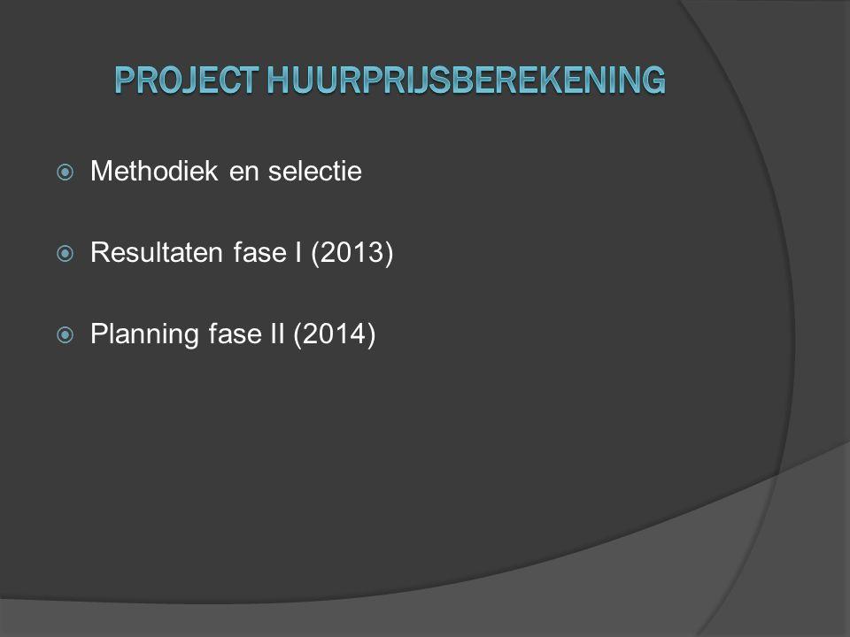  Methodiek en selectie  Resultaten fase I (2013)  Planning fase II (2014)