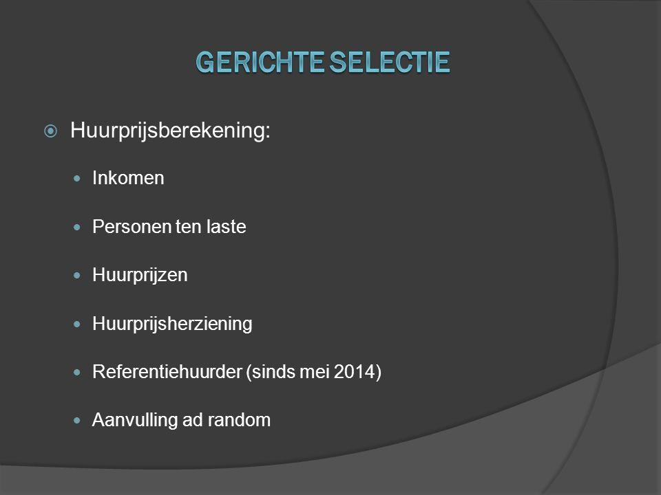  Huurprijsberekening:  Inkomen  Personen ten laste  Huurprijzen  Huurprijsherziening  Referentiehuurder (sinds mei 2014)  Aanvulling ad random