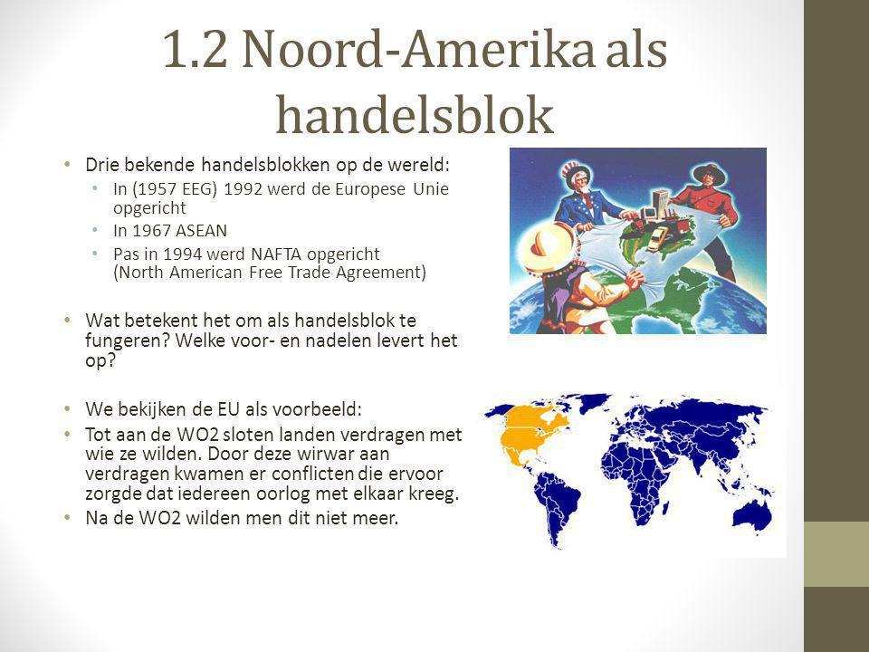 1.2 Noord-Amerika als handelsblok • Drie bekende handelsblokken op de wereld: • In (1957 EEG) 1992 werd de Europese Unie opgericht • In 1967 ASEAN • P
