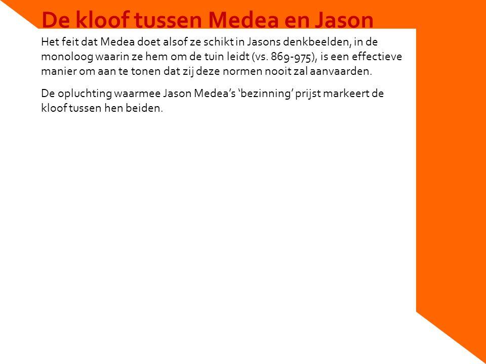 De kloof tussen Medea en Jason Het feit dat Medea doet alsof ze schikt in Jasons denkbeelden, in de monoloog waarin ze hem om de tuin leidt (vs.