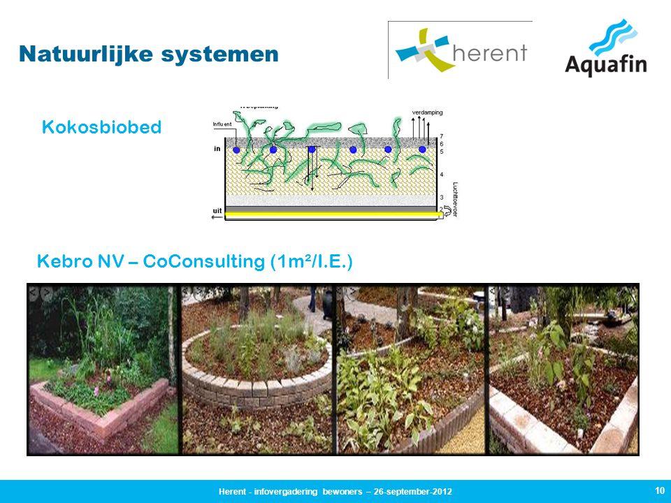 10 Natuurlijke systemen Kokosbiobed Kebro NV – CoConsulting (1m²/I.E.) Herent - infovergadering bewoners – 26-september-2012