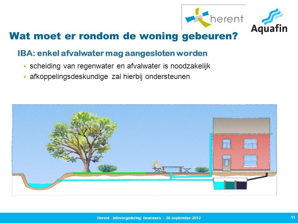 11 Wat moet er rondom de woning gebeuren? IBA: enkel afvalwater mag aangesloten worden  scheiding van regenwater en afvalwater is noodzakelijk  afko
