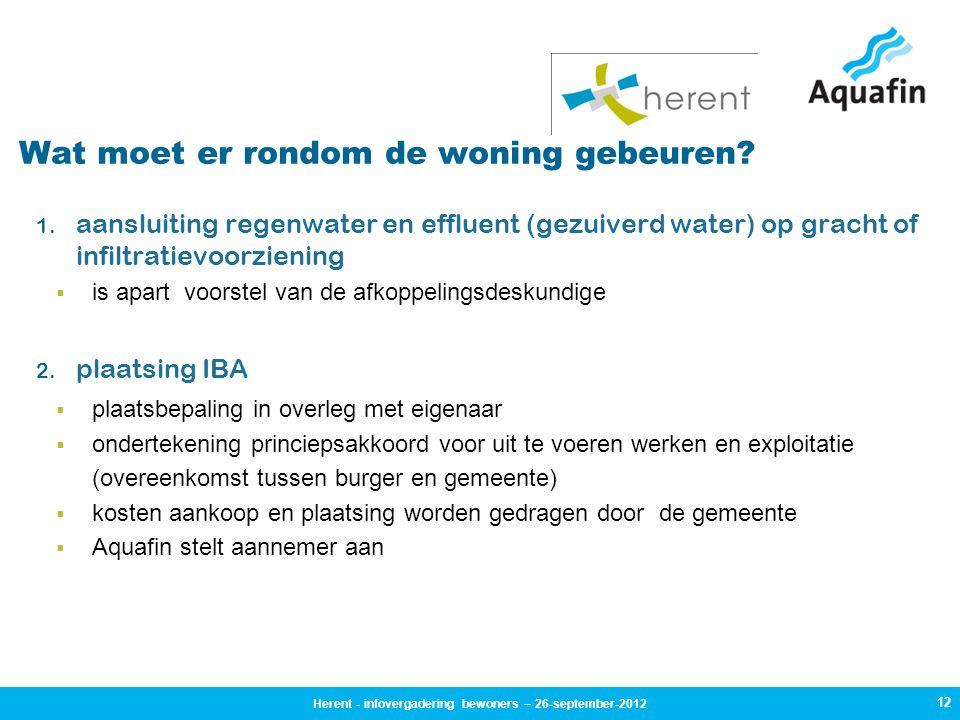 12 Wat moet er rondom de woning gebeuren? 1. aansluiting regenwater en effluent (gezuiverd water) op gracht of infiltratievoorziening  is apart voors
