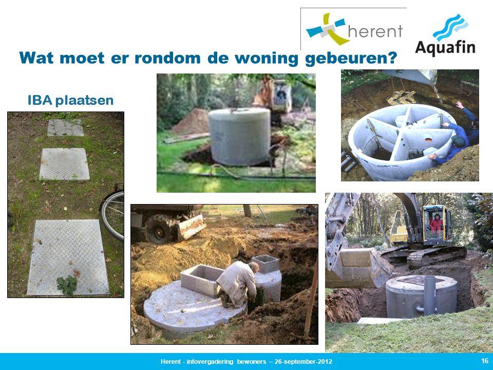 16 Wat moet er rondom de woning gebeuren? IBA plaatsen Herent - infovergadering bewoners – 26-september-2012