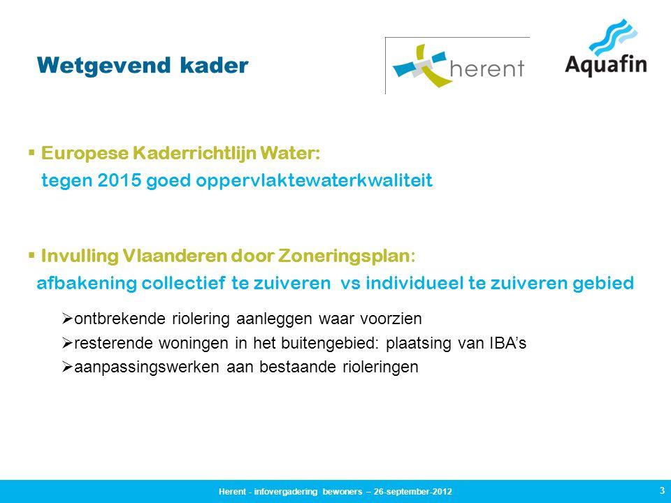 3 Wetgevend kader  Europese Kaderrichtlijn Water: tegen 2015 goed oppervlaktewaterkwaliteit  Invulling Vlaanderen door Zoneringsplan: afbakening col