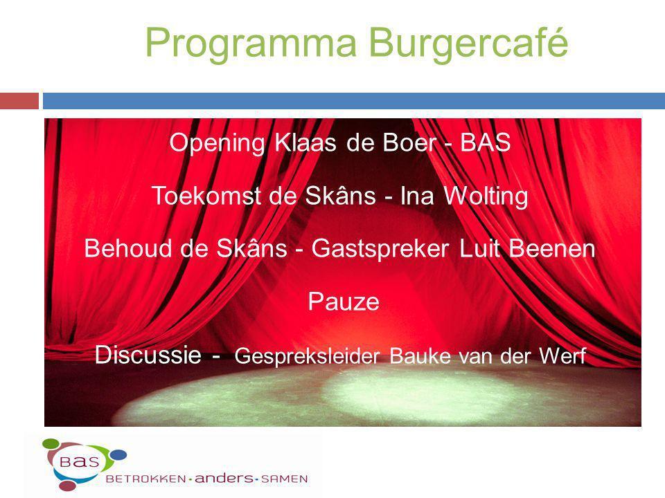 Opening Klaas de Boer - BAS Toekomst de Skâns - Ina Wolting Behoud de Skâns - Gastspreker Luit Beenen Pauze Discussie - Gespreksleider Bauke van der W