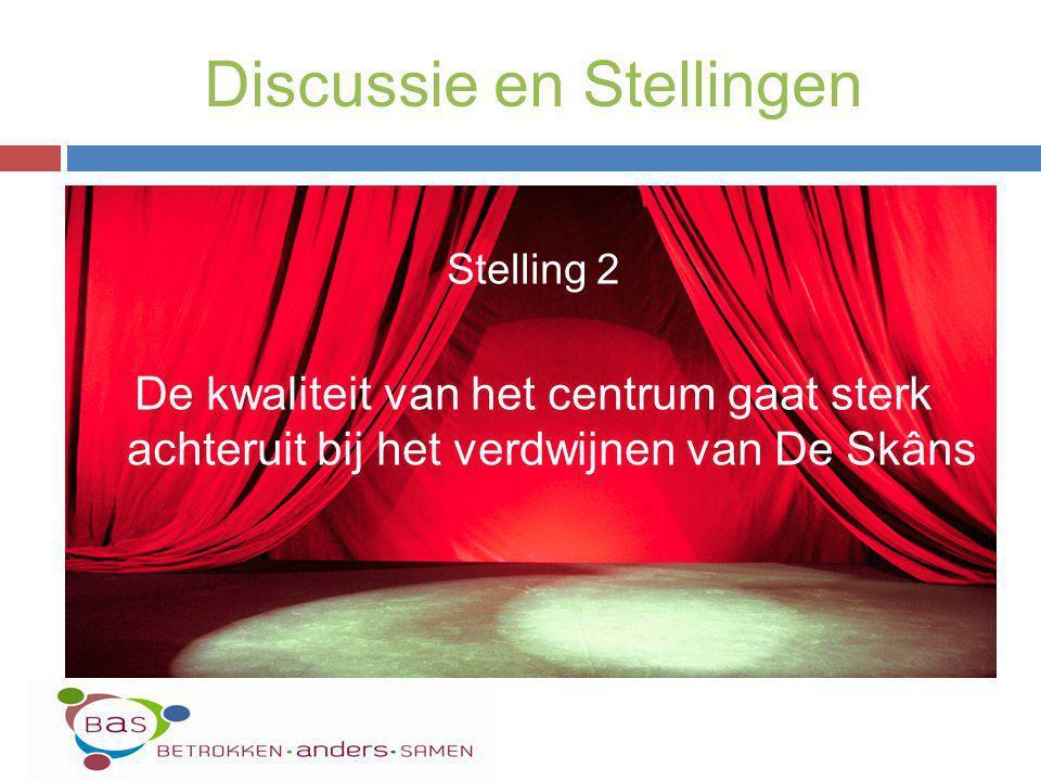 Stelling 2 De kwaliteit van het centrum gaat sterk achteruit bij het verdwijnen van De Skâns Discussie en Stellingen