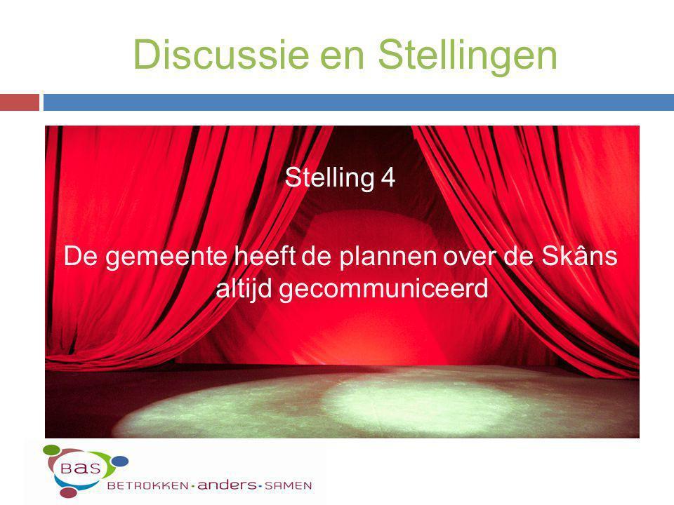 Stelling 4 De gemeente heeft de plannen over de Skâns altijd gecommuniceerd Discussie en Stellingen