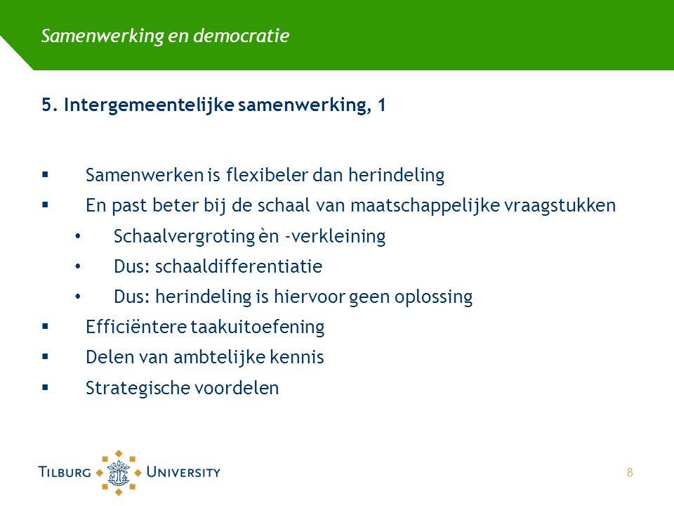 Samenwerking en democratie 5. Intergemeentelijke samenwerking, 1  Samenwerken is flexibeler dan herindeling  En past beter bij de schaal van maatsch