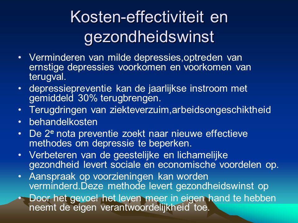 Kosteneffectiviteit en gezondheidswinst •De stijgende vraag naar GGZ kan afnemen,instroom beperkt.
