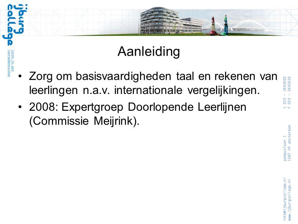 Aanleiding •Zorg om basisvaardigheden taal en rekenen van leerlingen n.a.v. internationale vergelijkingen. •2008: Expertgroep Doorlopende Leerlijnen (