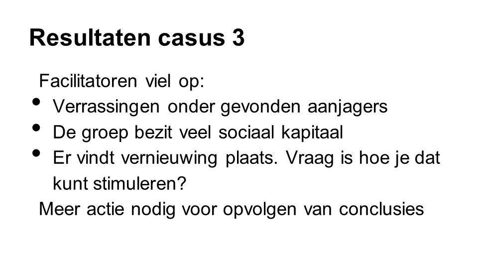 Resultaten casus 3 Facilitatoren viel op: • Verrassingen onder gevonden aanjagers • De groep bezit veel sociaal kapitaal • Er vindt vernieuwing plaats