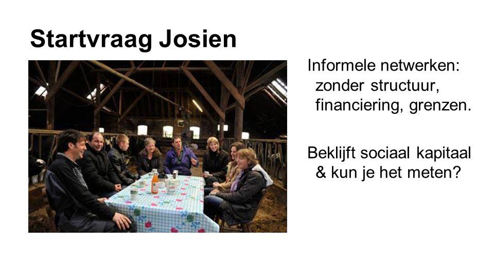 Startvraag Josien Informele netwerken: zonder structuur, financiering, grenzen. Beklijft sociaal kapitaal & kun je het meten?