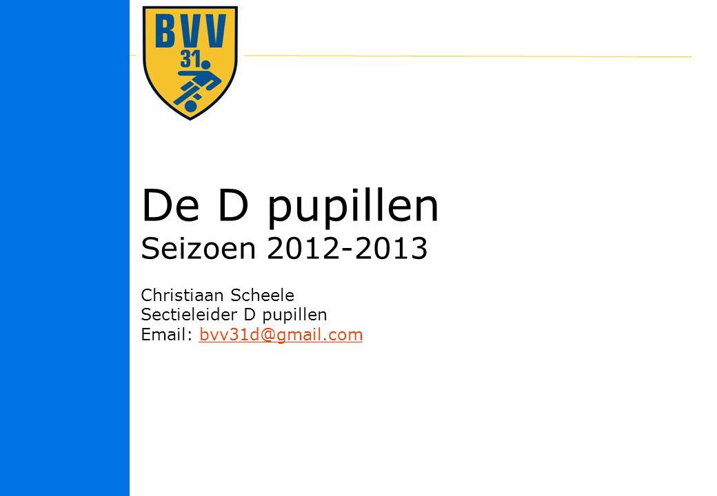 11 © 2010 De D pupillen Seizoen 2012-2013 Christiaan Scheele Sectieleider D pupillen Email: bvv31d@gmail.combvv31d@gmail.com