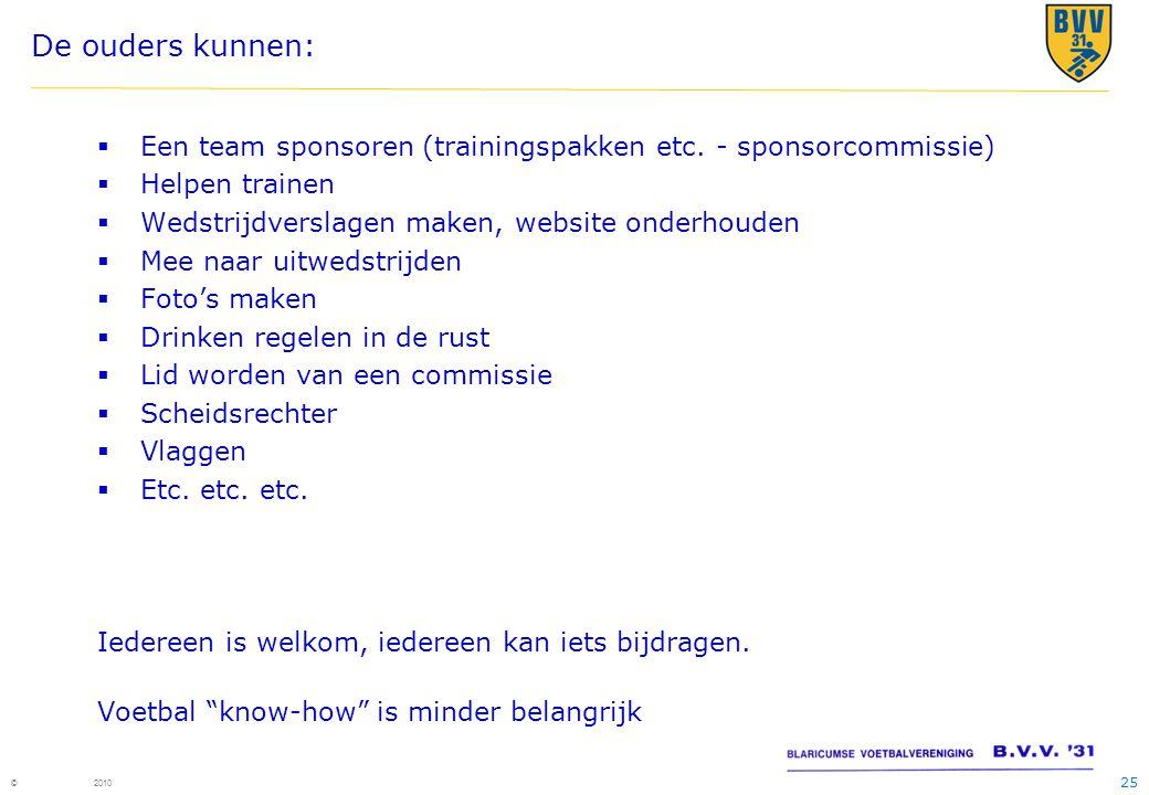 25 © 2010 De ouders kunnen:  Een team sponsoren (trainingspakken etc. - sponsorcommissie)  Helpen trainen  Wedstrijdverslagen maken, website onderh