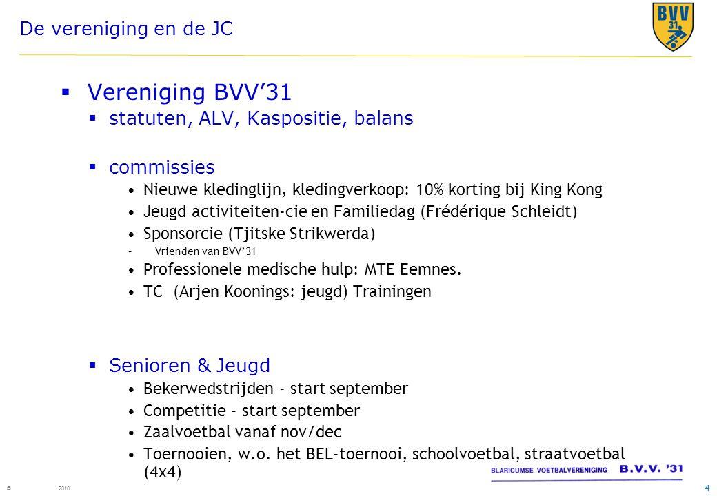 4 © 2010 De vereniging en de JC  Vereniging BVV'31  statuten, ALV, Kaspositie, balans  commissies •Nieuwe kledinglijn, kledingverkoop: 10% korting