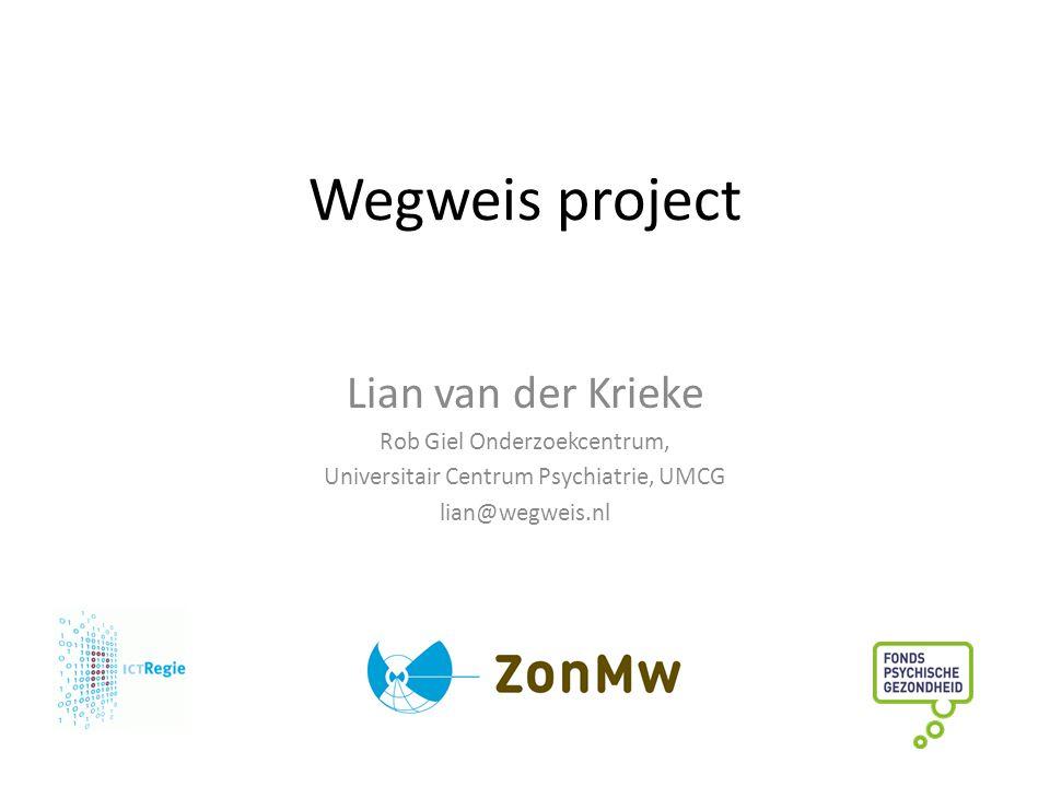 Wegweis project Lian van der Krieke Rob Giel Onderzoekcentrum, Universitair Centrum Psychiatrie, UMCG lian@wegweis.nl