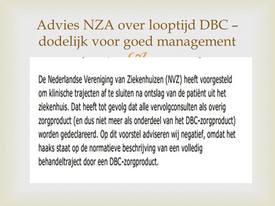  Advies NZA over looptijd DBC – dodelijk voor goed management