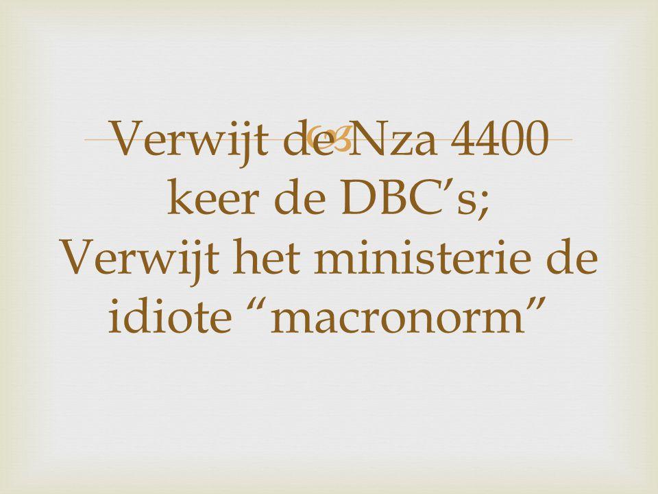  Verwijt de Nza 4400 keer de DBC's; Verwijt het ministerie de idiote macronorm