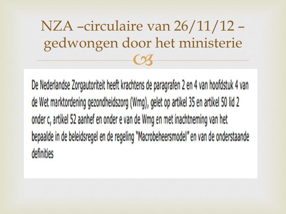  NZA –circulaire van 26/11/12 – gedwongen door het ministerie