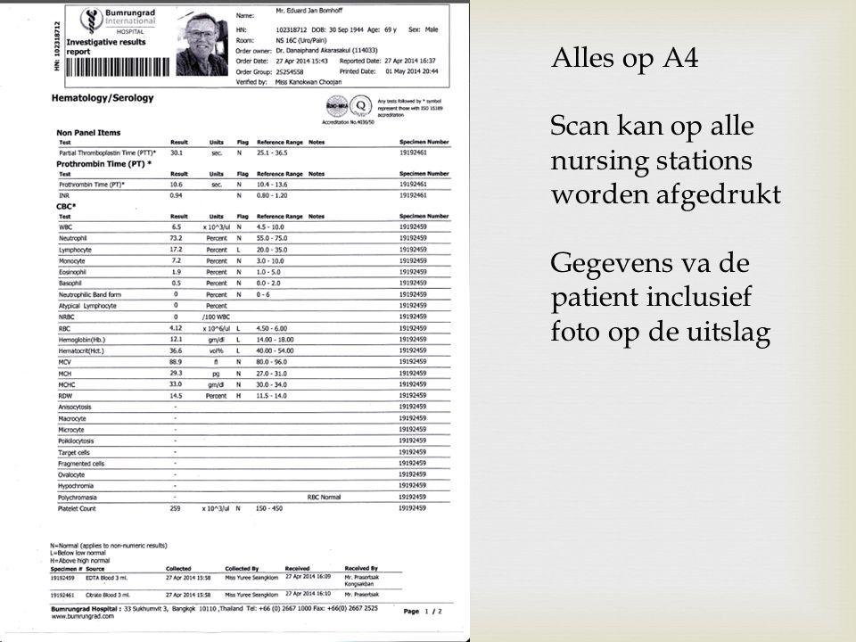 Alles op A4 Scan kan op alle nursing stations worden afgedrukt Gegevens va de patient inclusief foto op de uitslag