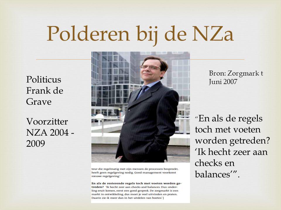  Polderen bij de NZa Bron: Zorgmark t Juni 2007 En als de regels toch met voeten worden getreden.