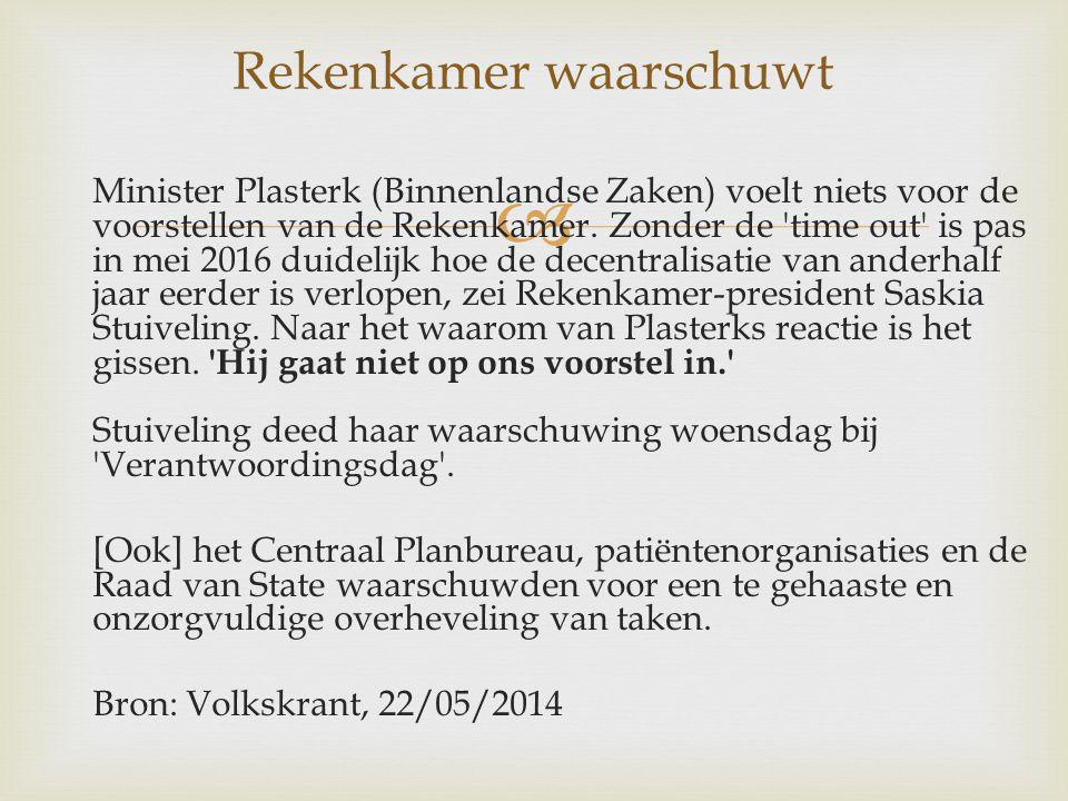  Minister Plasterk (Binnenlandse Zaken) voelt niets voor de voorstellen van de Rekenkamer.