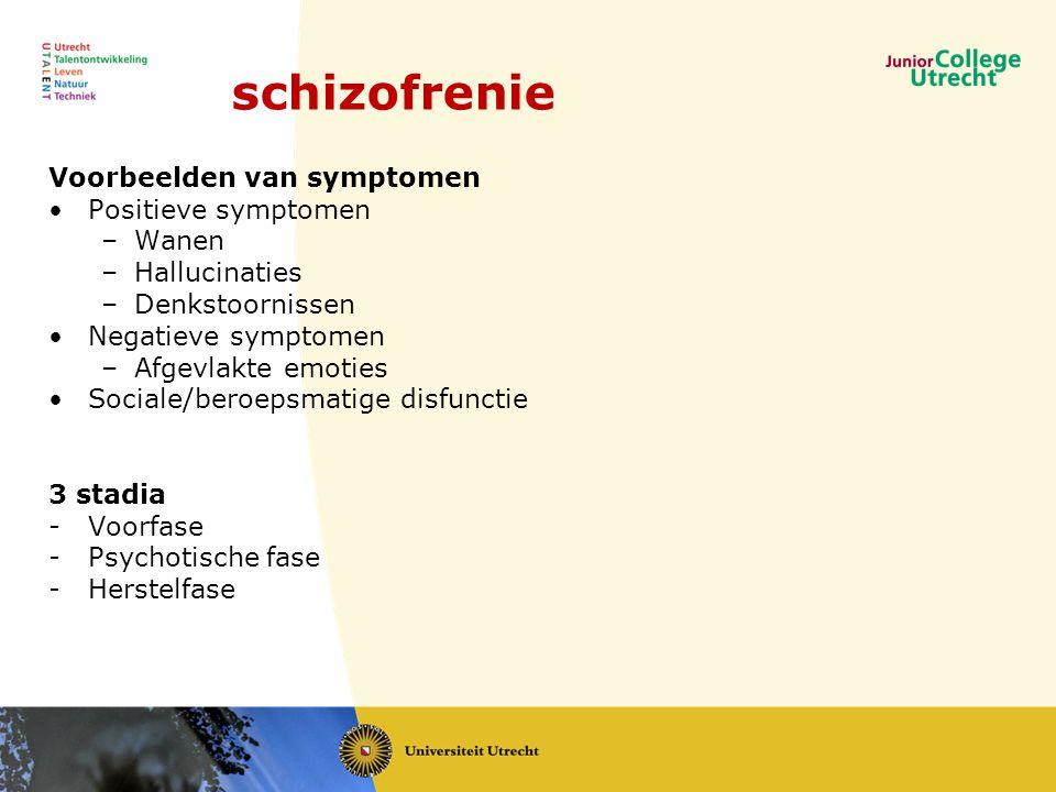 Voorbeelden van symptomen •Positieve symptomen –Wanen –Hallucinaties –Denkstoornissen •Negatieve symptomen –Afgevlakte emoties •Sociale/beroepsmatige disfunctie 3 stadia -Voorfase -Psychotische fase -Herstelfase schizofrenie