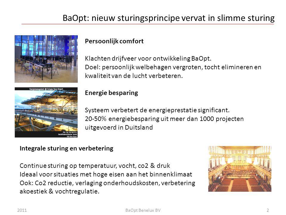 Klimaatsturing traditioneel: gerichte luchtstroming 2011BaOpt Benelux BV3 • Sturing meestal op basis van temperatuur • Slechte luchtmenging • Vaak veel te hoog Co2 niveau • Tocht als installatie te hard draait • Kou langs ramen (en soms muren) • Stijgende energiekosten