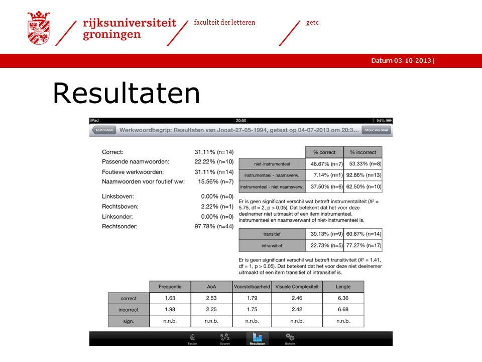 |Datum 03-10-2013 faculteit der letteren getc Resultaten