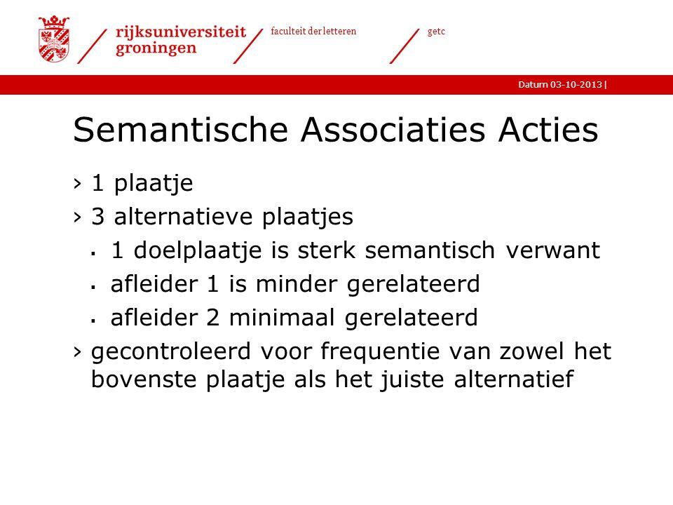 |Datum 03-10-2013 faculteit der letteren getc Semantische Associaties Acties ›1 plaatje ›3 alternatieve plaatjes  1 doelplaatje is sterk semantisch v