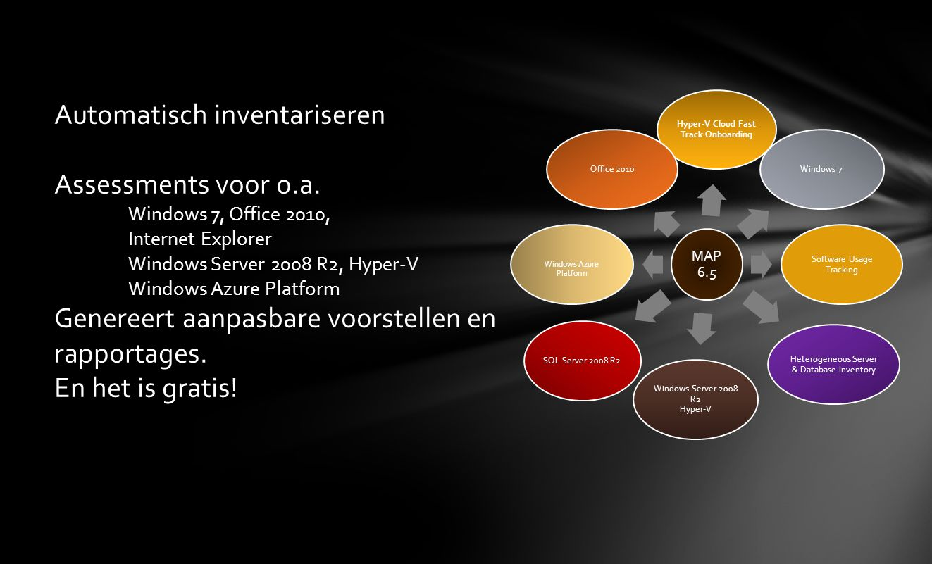 Architectuur ADO.NET MAP Console UI MAP Collection Manager System Center UI Framework Reporting Engine DocGen Engine Assessment Engine Survey Engine UI Data Access Layer Collector Data Access Layer AD/LDA P WINS/ Work- group IP Range WMIssh Perf- mon Others Bedrijfs netwerk Persist Configuration Information/ Retrieve Progress Status Persist Configuration Information/ Retrieve Progress Status Get Collector s Configured Information Persist Collection Results/Populate Work-Items Persist Collection Results/Populate Work-Items User Input User Input Inventatie Data Access via ADO.NET Database (SQL Server) Database (SQL Server) Snel: 10.000 machines in 45 minuten Scaalbaar: 100K machines inventarisatie Routines zijn getest Uitbreidbaarheid: Nieuwe Functionaliteit kan worden Toegevoegd.