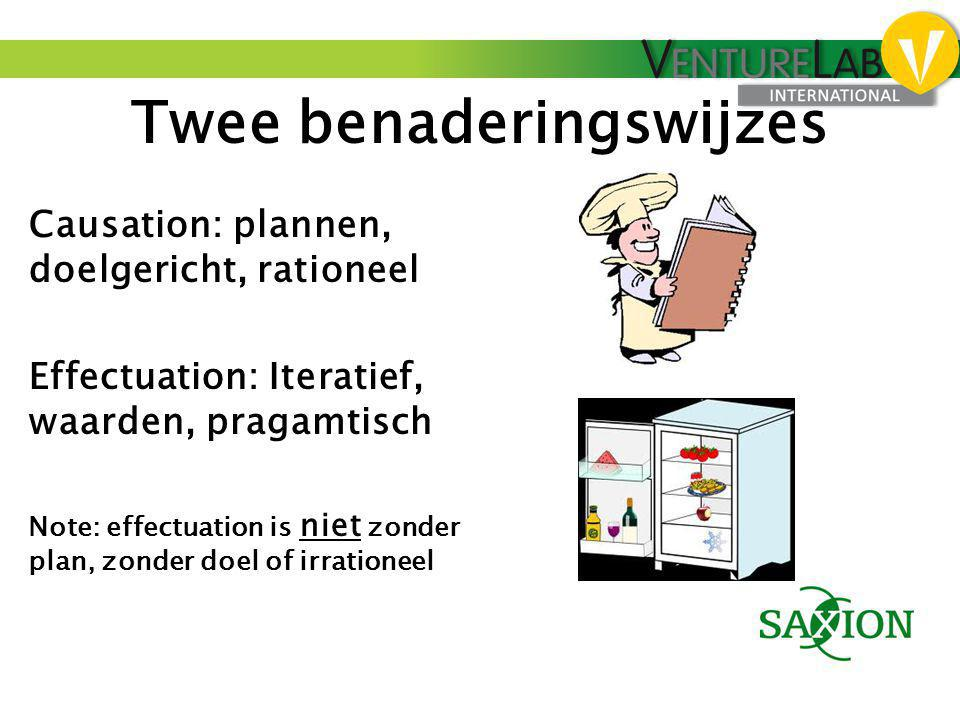 Twee benaderingswijzes Causation: plannen, doelgericht, rationeel Effectuation: Iteratief, waarden, pragamtisch Note: effectuation is niet zonder plan