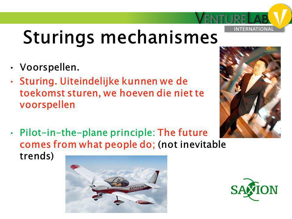 Sturings mechanismes •Voorspellen. •Sturing. Uiteindelijke kunnen we de toekomst sturen, we hoeven die niet te voorspellen •Pilot-in-the-plane princip