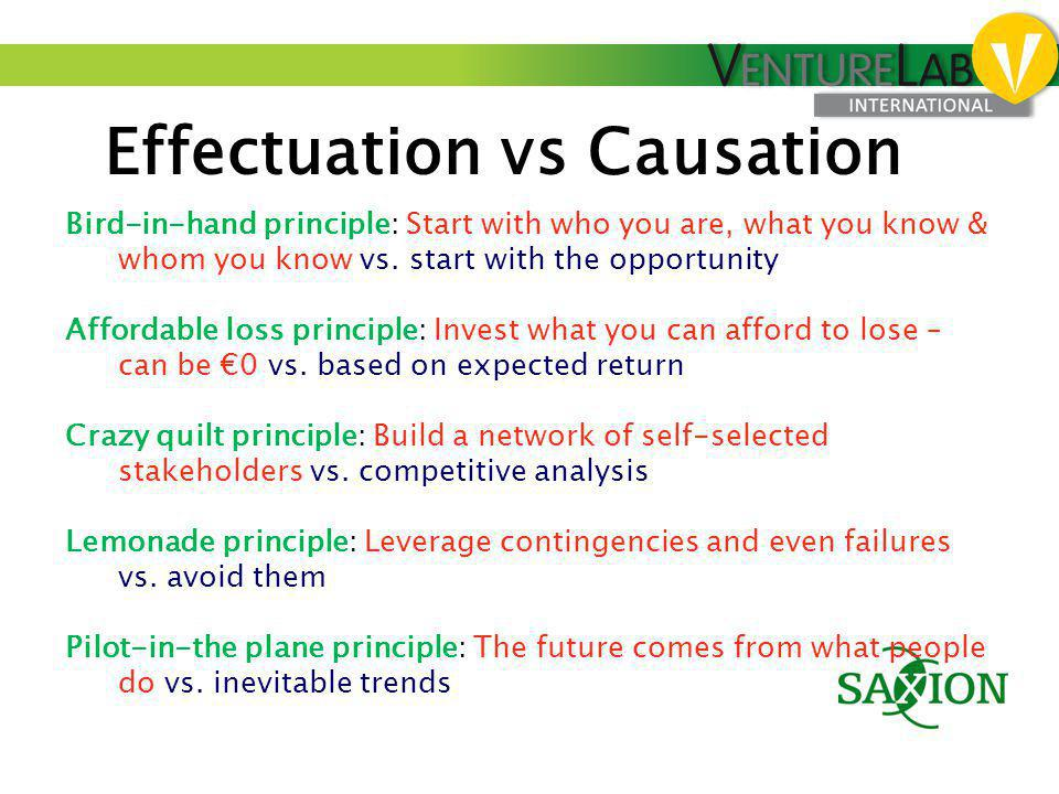 Effectuation vs Causation Bird-in-hand principle: Start with who you are, what you know & whom you know vs. start with the opportunity Affordable loss
