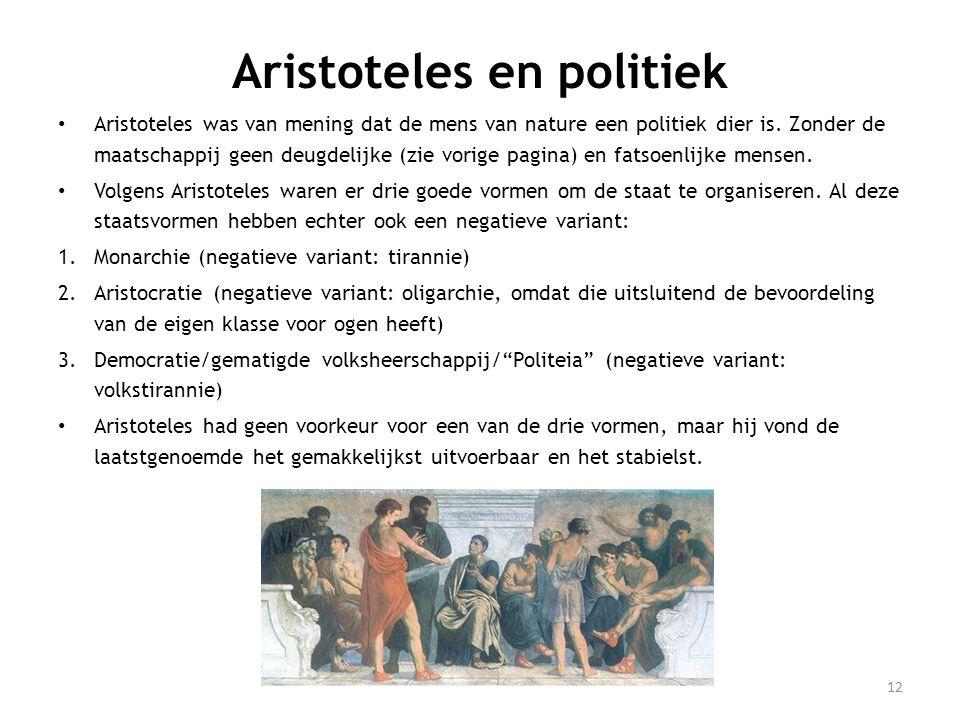12 Aristoteles en politiek • Aristoteles was van mening dat de mens van nature een politiek dier is.