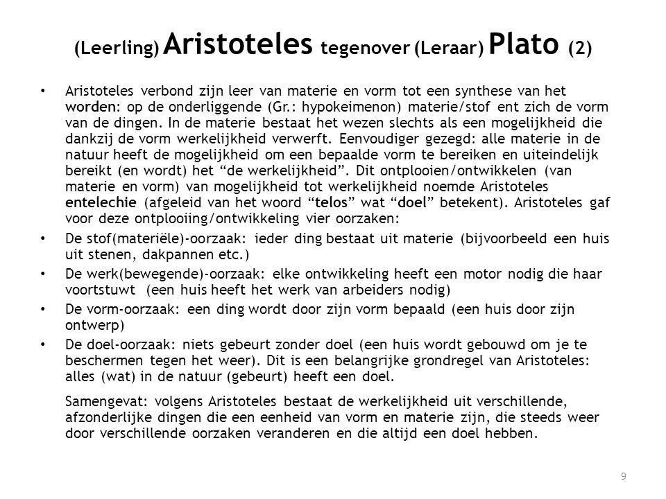 • Aristoteles verbond zijn leer van materie en vorm tot een synthese van het worden: op de onderliggende (Gr.: hypokeimenon) materie/stof ent zich de vorm van de dingen.
