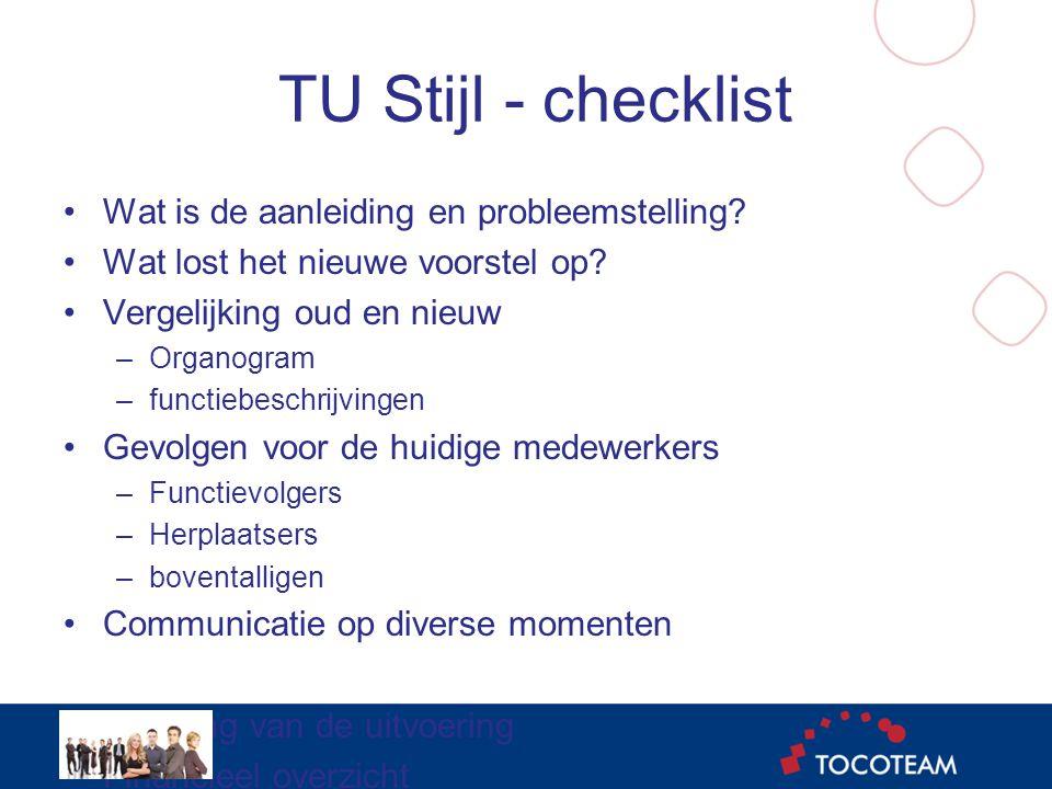 TU Stijl - checklist •Wat is de aanleiding en probleemstelling.