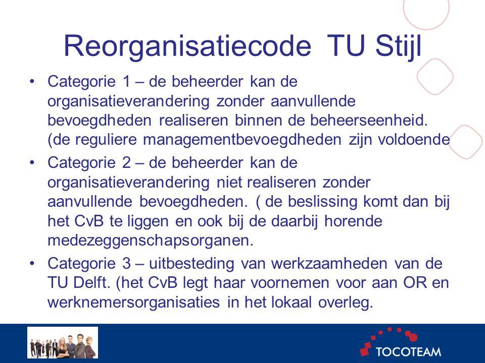 Reorganisatiecode TU Stijl •Categorie 1 – de beheerder kan de organisatieverandering zonder aanvullende bevoegdheden realiseren binnen de beheerseenheid.