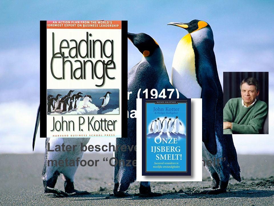 Hier kan je je eigen teksten in typen John Kotter (1947) Leading Change Later beschreven in de metafoor Onze IJsberg smelt .
