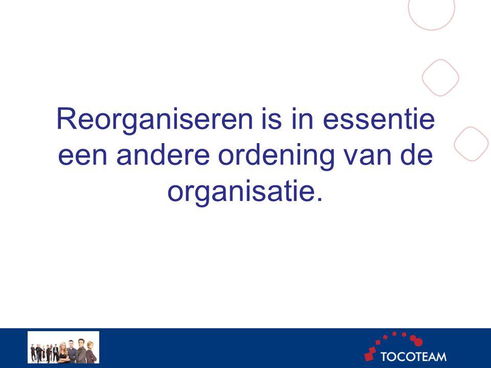 Reorganiseren is in essentie een andere ordening van de organisatie.
