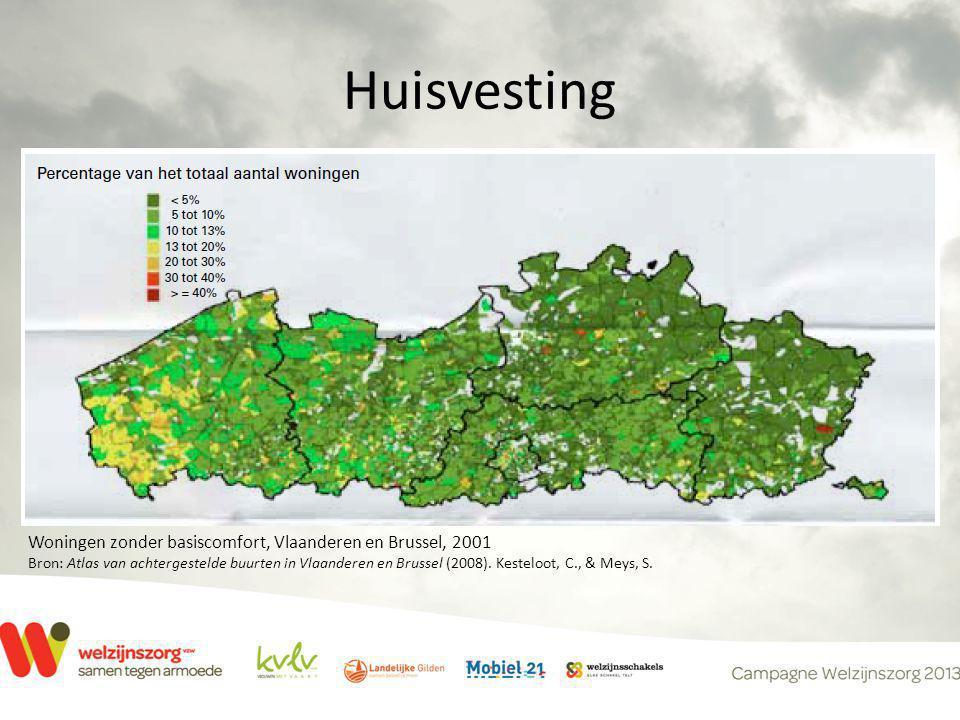 Huisvesting Woningen zonder basiscomfort, Vlaanderen en Brussel, 2001 Bron: Atlas van achtergestelde buurten in Vlaanderen en Brussel (2008).