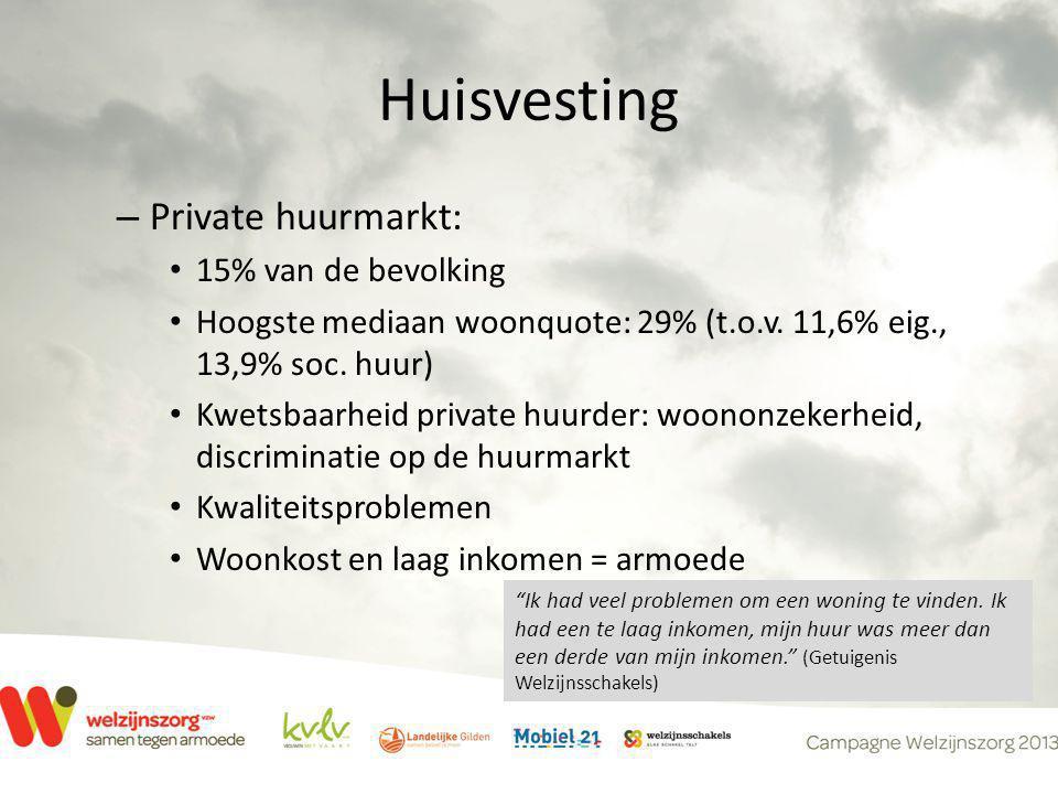 Huisvesting – Private huurmarkt: • 15% van de bevolking • Hoogste mediaan woonquote: 29% (t.o.v. 11,6% eig., 13,9% soc. huur) • Kwetsbaarheid private